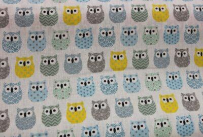 Tissu imprimé de chouettes bleues-0