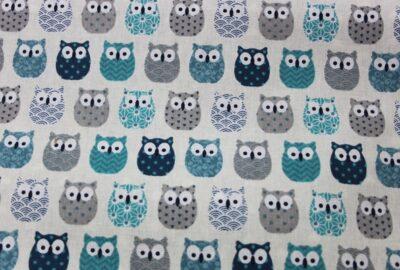 tissu chouettes bleues