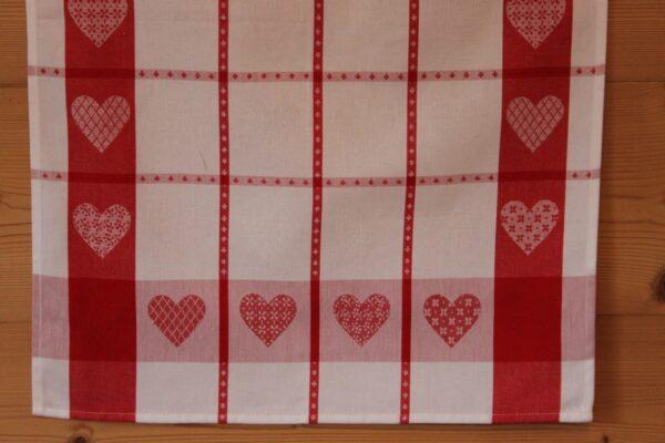 Torchon Coeurs carreaux rouge et blanc-6058