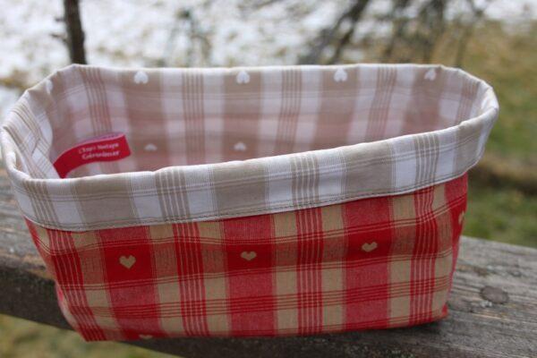 Grande Corbeille tissu coeurs rouge et beige-6306