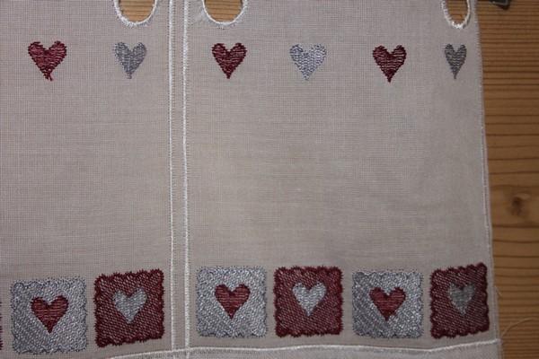 Voilage petits coeurs brodés gris et bordeaux-5674