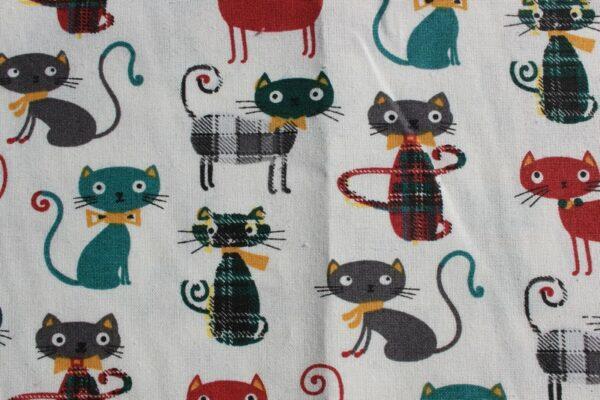 tissu imprimé chats vert et bordeaux