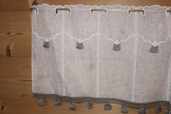 Voilage blanc Pompons gris